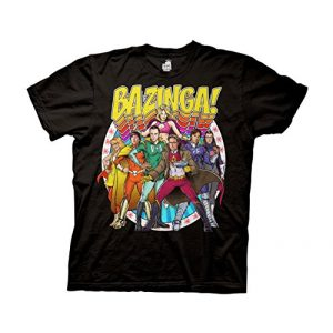 Ripple Junction Graphic Tshirt 1 Big Bang Theory Bazinga Group Comic Heros Adult T-Shirt
