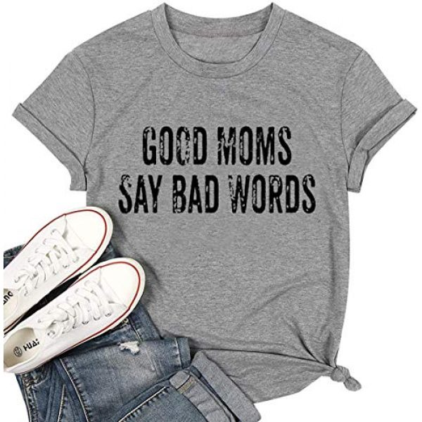 LUBERLIN Graphic Tshirt 1 Good Moms Say Bad Words T Shirt Graphic Tee Women Letter Print Short Sleeve Tops