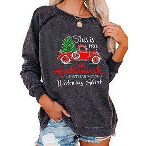 LILLIWEEN Graphic Tshirt 1 Christmas Movies Watching Long Sleeve Shirt Xmas Truck Tree This is My Xmas Watching Shirt Women Tops