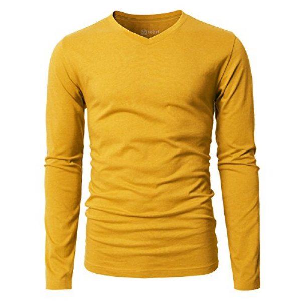 H2H Graphic Tshirt 2 Mens Casual Slim Fit Long Sleeve V-Neck T-Shirts