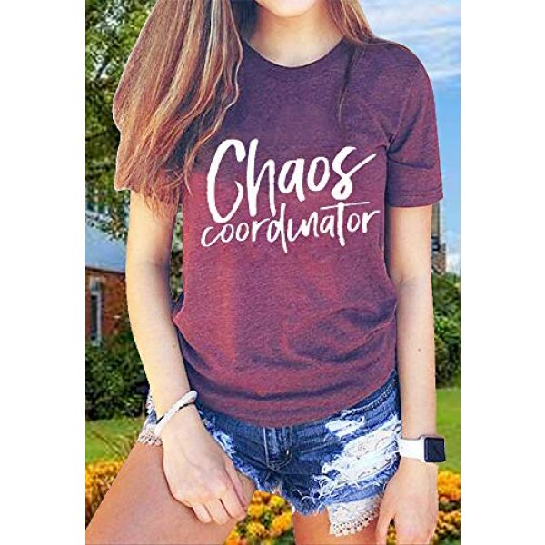 FAYALEQ Graphic Tshirt 2 Chaos Coordinator T Shirt Women Funny Letter Print T-Shirt Tees Casual Loose V-Neck Short Sleeve Tops Blouse