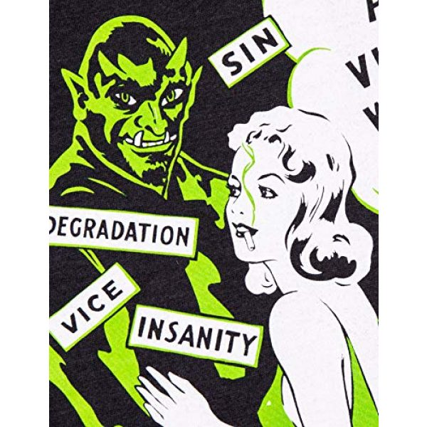 Ann Arbor T-shirt Co. Graphic Tshirt 5 Devil's Harvest (1942 Poster) | Funny Absurd Vintage Drug War Marijuana Weed Pot Propaganda Women's V-Neck T-Shirt