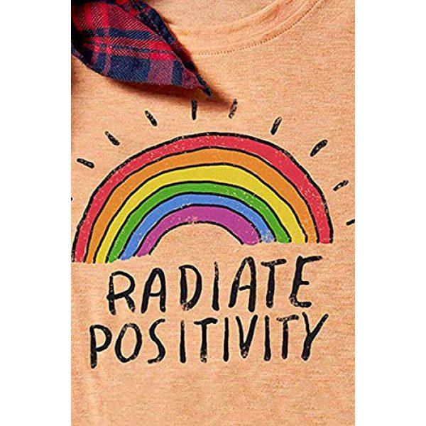 Mahrokh Graphic Tshirt 2 Women Radiate Positivity Rainbow Shirt Funny T Shirts Short Sleeve Graphic Tees Casual Tops