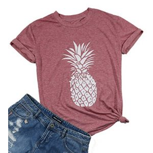 DUTUT Graphic Tshirt 1 Pineapple Printed Funny T Shirt Women's Summer Fruits Lover Casual Short Sleeve Tops Blouse