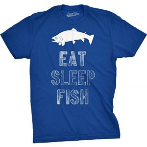 Crazy Dog T-Shirts Graphic Tshirt 1 Mens Eat Sleep Fish T Shirt Funny Sarcastic Novelty Fishing Lover Gift for Dad