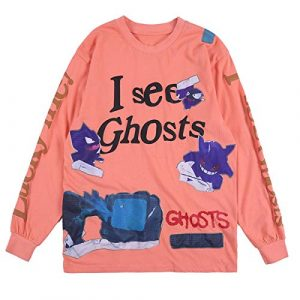 NAGRI Graphic Tshirt 1 Lucky Me I See Ghosts Letter Printing Long Sleeve T-Shirt Graphic Rap Music Hip Hop Sweatshirt Tee Orange