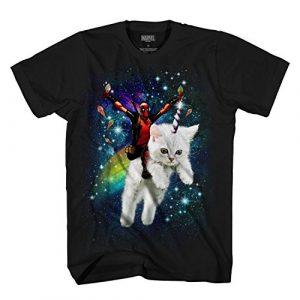 Marvel Graphic Tshirt 1 Deadpool Space Trip Unicorn Kitty Adult T-Shirt
