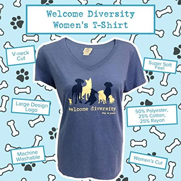 Dog is Good Graphic Tshirt 2 Short Sleeve T-Shirt Welcome Diversity - Great Gift for Dog Lovers, Made with High Premium Materials, Women's Fit