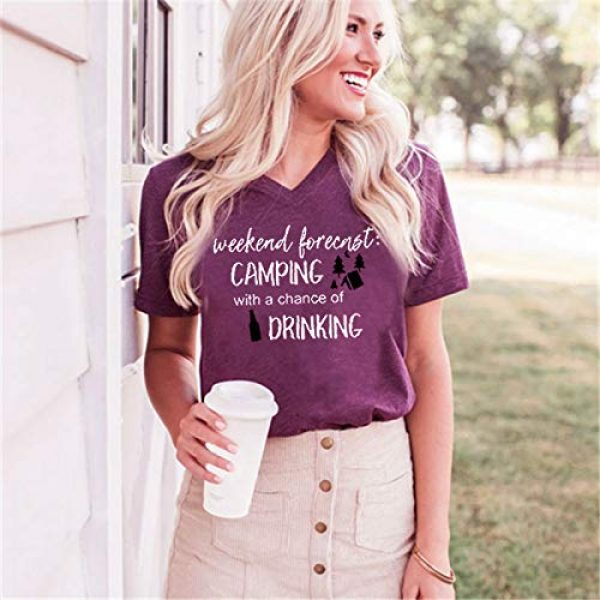 EXMIUN Graphic Tshirt 2 Weekend Forecast Camping with a Chance of Drinking T-Shirt for Women Cute Graphic Short Sleeve Funny Letter Print Tee Tops