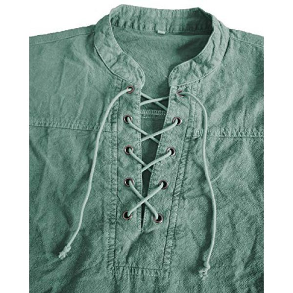 Moomphya Graphic Tshirt 3 Men's Medieval Retro Lace-up V-Neck Cotton Linen Gothic Long Sleeve T-Shirts