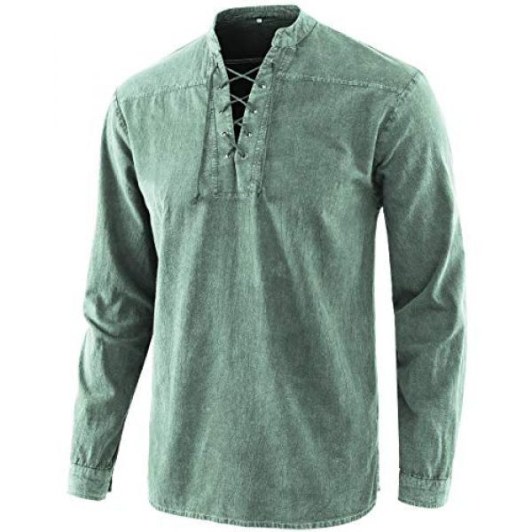 Moomphya Graphic Tshirt 1 Men's Medieval Retro Lace-up V-Neck Cotton Linen Gothic Long Sleeve T-Shirts