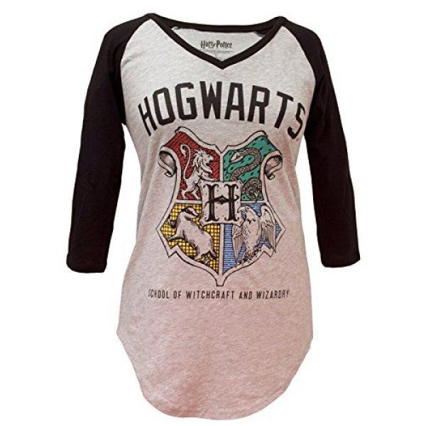 Harry Potter Graphic Tshirt 1 Hogwarts Crest V-Neck Juniors Raglan