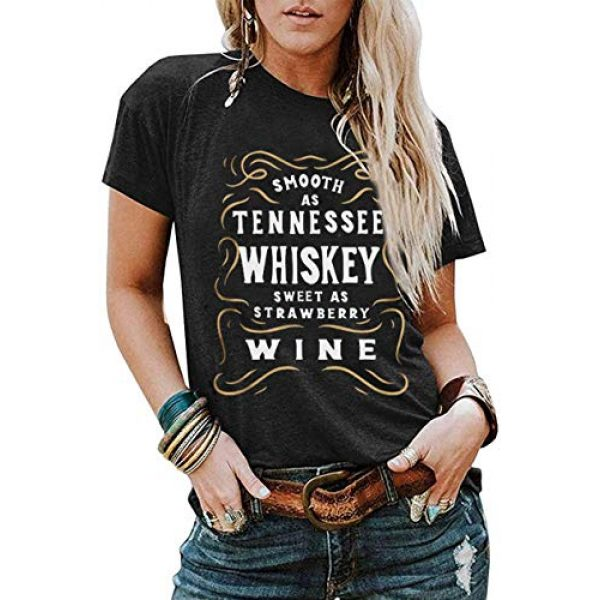 CHENLY Graphic Tshirt 2 Smooth As Tennessee Whiskey Sweet As Strawberry Wine T Shirt Women Funny Drinking Letter Print Tops Tee