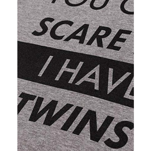 Ann Arbor T-shirt Co. Graphic Tshirt 5 You Can't Scare Me, I Have Twins | Funny Twin Life Joke V-Neck T-Shirt for Women