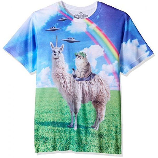 Goodie Two Sleeves Graphic Tshirt 1 Humor Cat Rides Llamacorn Adult T-Shirt