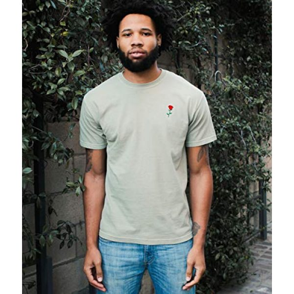 Riot Society Graphic Tshirt 3 Comfort Colors Rose Embroidered Mens T-Shirt - Stone Comfort Colors, Large