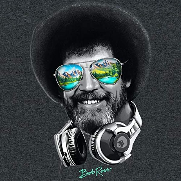 Teelocity Graphic Tshirt 3 DJ Bob Ross Officially-Licensed Headphone & Shades Men and Women Short Sleeve T-Shirt (Multiple Colors)