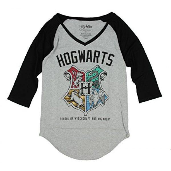 Harry Potter Graphic Tshirt 2 Hogwarts Crest V-Neck Juniors Raglan