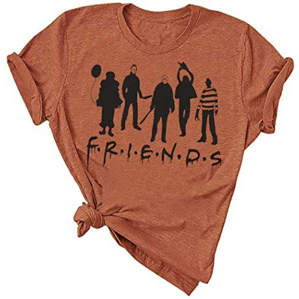 TAOHONG Graphic Tshirt 1 Friends Shirt Women Funny Party T Shirt Top Horror Movies Novelty Graphic Short Sleeve Tee Blouse