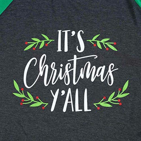 FAYALEQ Graphic Tshirt 2 Plus Size It's Christmas Y'all Baseball T-Shirt Women 3/4 Sleeve Raglan Holiday Tops