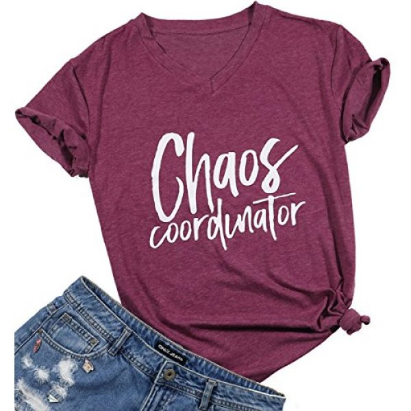 FAYALEQ Graphic Tshirt 1 Chaos Coordinator T Shirt Women Funny Letter Print T-Shirt Tees Casual Loose V-Neck Short Sleeve Tops Blouse