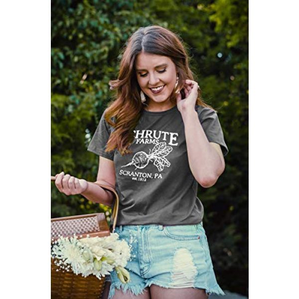 OUNAR Graphic Tshirt 4 Women Schrute Farms Shirt Cute The Office Graphic T-Shirt Sweatshirt with Pocket