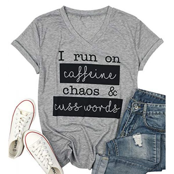 MAXIMGR Graphic Tshirt 2 I Run On Coffee Chaos Cuss Words T Shirt Women Funny Short Sleeve T-Shirt Mom Gift