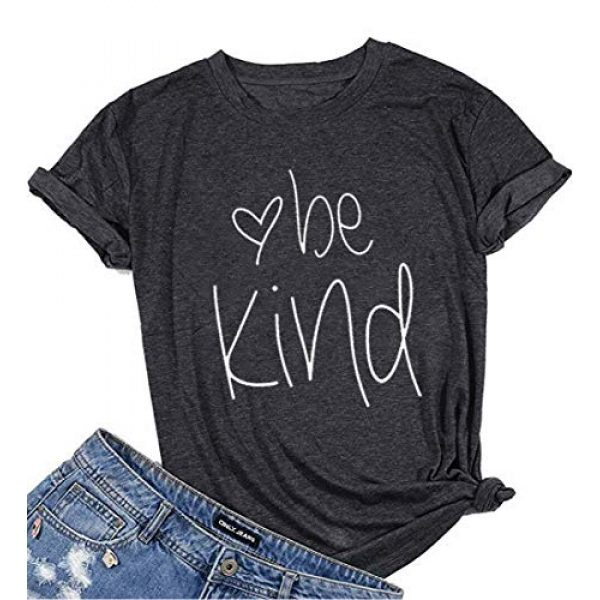 DUTUT Graphic Tshirt 1 Womens Be Kind T Shirt Summer Letter Print Short Sleeve Loose Tops Inspirational Graphic Tees