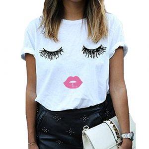 BLACKMYTH Graphic Tshirt 1 Women Summer Funny Print Short Sleeve Top Tee Graphic Cute T-Shirt