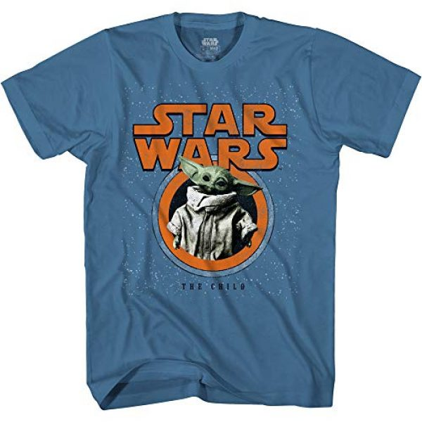 Mad Engine Graphic Tshirt 1 Star Wars The Mandalorian The Child Baby Yoda Distressed Logo Adult T-Shirt Licensed