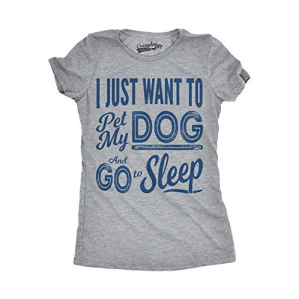 Crazy Dog T-Shirts Graphic Tshirt 1 Womens I Just Want to Pet My Dog and Go to Sleep Funny T Shirt Novelty Lover