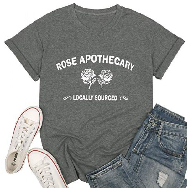 VILOVE Graphic Tshirt 2 Womens Rose Apothecary Shirts Locally Sourced Graphic Tees Summer Funny Short Sleeve Causal Holiday Tops