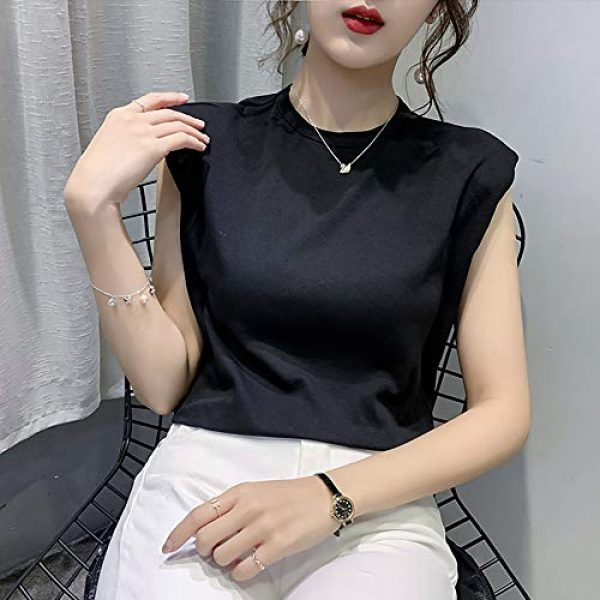 FENGQIYUNHAI Graphic Tshirt 5 Women T Shirt with Shoulder Pads Casual Loose Tank Tops and Tees