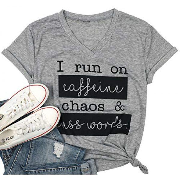 MAXIMGR Graphic Tshirt 3 I Run On Coffee Chaos Cuss Words T Shirt Women Funny Short Sleeve T-Shirt Mom Gift