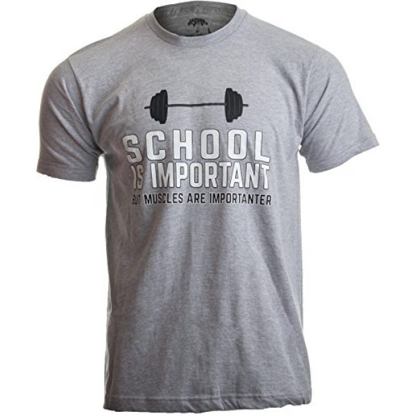 Ann Arbor T-shirt Co. Graphic Tshirt 1 School is Important, but Muscles are Importanter | Funny Body Building T-Shirt