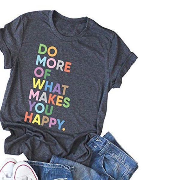 DORFALNE Graphic Tshirt 1 Women's Fun Happy Graphic Tees Summer Cute Round Neck Short Sleeve Letter Printed T-Shirts
