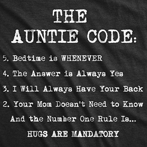 Crazy Dog T-Shirts Graphic Tshirt 2 Womens The Auntie Code T Shirt Funny Gift for Aunt Sarcastic Novelty Graphic Tee