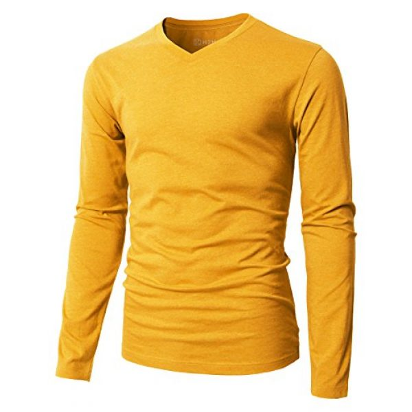 H2H Graphic Tshirt 1 Mens Casual Slim Fit Long Sleeve V-Neck T-Shirts