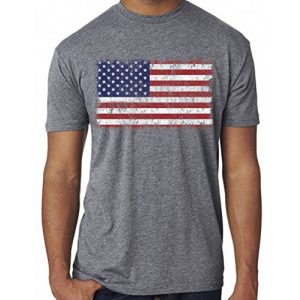 SoRock Graphic Tshirt 1 Men's USA Distressed American Flag Tri Blend Tshirt Heather Grey