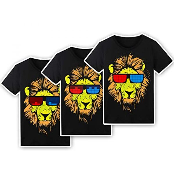 SOOOEC Graphic Tshirt 3 LED T Shirt Sound Activated Glow Shirts Light up Equalizer Clothes for Party