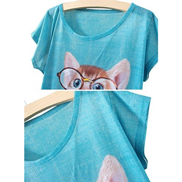 futurino Graphic Tshirt 3 Women's Lovely Cup Cat in Teacup Print Short Sleeve T Shirt Tops