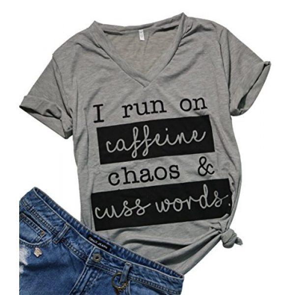 MAXIMGR Graphic Tshirt 1 I Run On Coffee Chaos Cuss Words T Shirt Women Funny Short Sleeve T-Shirt Mom Gift