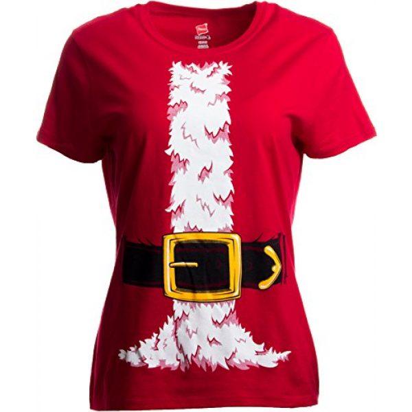 Ann Arbor T-shirt Co. Graphic Tshirt 3 Santa Claus Costume | Jumbo Print Novelty Christmas Holiday Humor Ladies T-Shirt