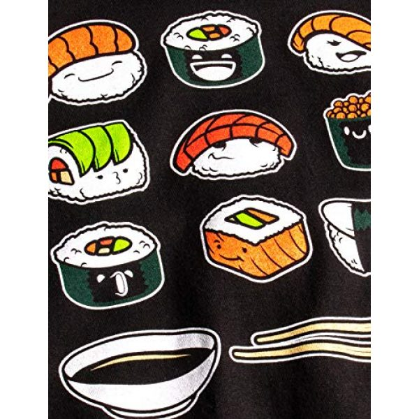 Ann Arbor T-shirt Co. Graphic Tshirt 5 Happy Sushi   Funny, Cute Fun Japanese Food Go Rice Art for Men Women T-Shirt