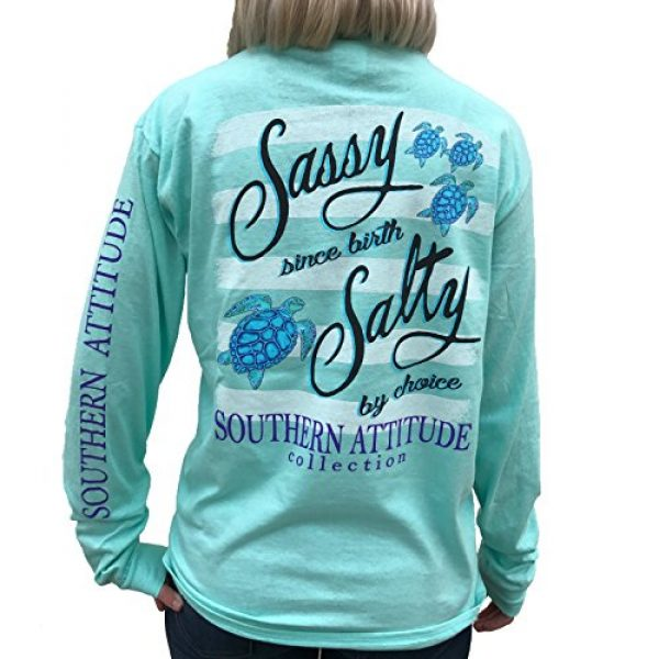Southern Attitude Graphic Tshirt 1 Salty by Choice Sea Turtles Sea Foam Green Long Sleeve Women's Shirt