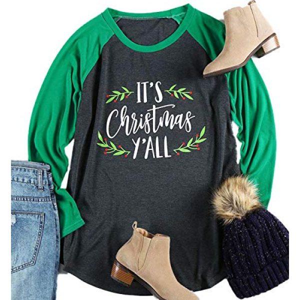 FAYALEQ Graphic Tshirt 1 Plus Size It's Christmas Y'all Baseball T-Shirt Women 3/4 Sleeve Raglan Holiday Tops