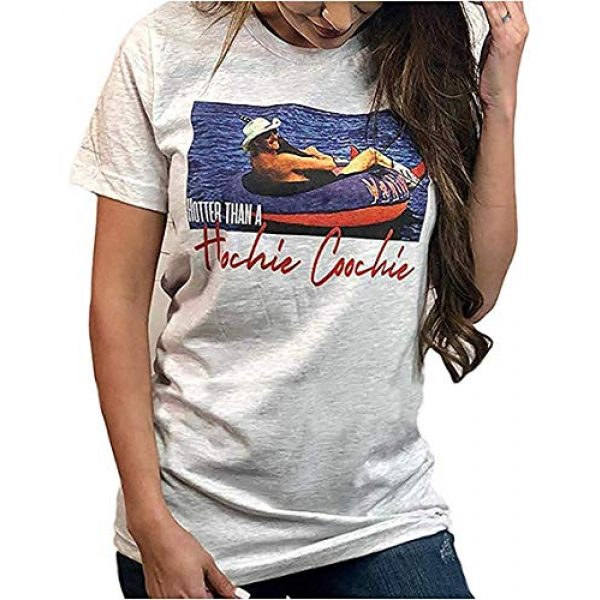 Chulianyouhuo Graphic Tshirt 1 Women's Funny Hotter Than A Hoochie Coochie T-Shirts Country Music Novelty Short Sleeve Summer Tops