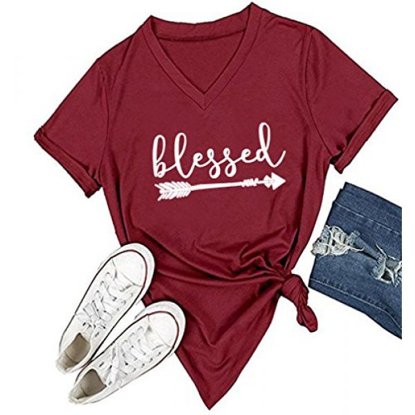 DANVOUY Graphic Tshirt 1 Women's V-Neck Summer Casual Letters Printed Short Sleeves Graphic T-Shirt