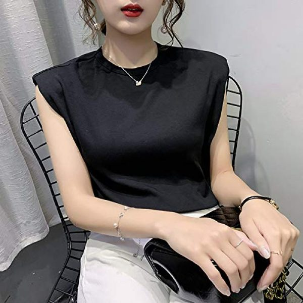 FENGQIYUNHAI Graphic Tshirt 7 Women T Shirt with Shoulder Pads Casual Loose Tank Tops and Tees