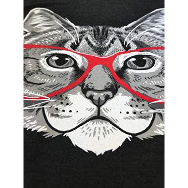 Ann Arbor T-shirt Co. Graphic Tshirt 5 Red Linda Glasses Cat | Sassy Funny Kitty Belcher Cute V-Neck T-Shirt for Women